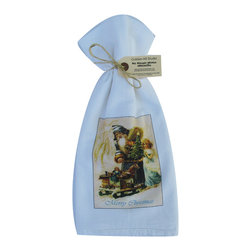 Santa with Toy Sled    Flour Sack Towel  Set of 2 - A fabulous set of 3 flour sack towels. This set features a wonderful antique Christmas print with Santa and a Toy Sled.   These towels are printed in the USA by American Workers!