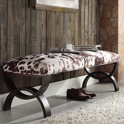 Inspire Q - INSPIRE Q Wellington Cowhide Print Arched Base Bench - The perfect place to sit and finish getting ready in the mornings,this elegant vanity bench has a hardwood frame for added stability. The wide legs will prevent it from tipping over,and the chocolate cow hide fabric adds a farm feel.