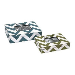 Hatcher Chevron Photo Box - Set of 2 - These popular chevron boxes are topped with frames to highlight your favorite photos. in trendy pattern and colors, this set of two boxes makes a great gift.