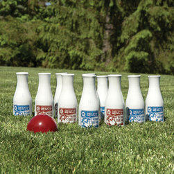 Lawn Bowling - Bowling need not be relegated to dingy alleys smelling of stale smoke, patronized by paunchy types in bad shirts — no, now you can bowl under the stars! And with this adorable lawn bowling set inspired by antique milk bottles, to boot. Strike!