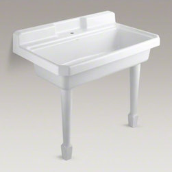 KOHLER - KOHLER Harborview(TM) top-mount or wall-mount utility sink with single faucet ho - Harborview offers a classic design inspired by early-20th century sinks. Performing double duty as a kitchen or utility sink, Harborview provides generous workspace. The easy-to-clean design features an integrated apron and a backsplash to help contain liquids. Crafted from enameled cast iron, this sink resists scratching, burning, and staining for years of beauty and reliable performance.