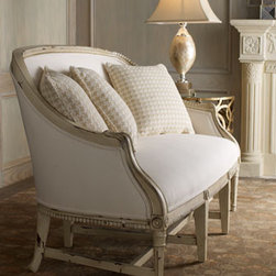 """""""Antoinette"""" Settee - The Antoinette Settee is neutral-toned settee that will work beautifully in any room where you would like some additional seating that is both elegant and cozy.  You'll love the carved details and distressed ivory finish that give this piece extra charm.    * 63""""W x 29""""D x 35""""T."""