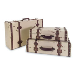 IMAX Worldwide Home - Antique Ivory Suitcases - Set of 3 - Set of Three Matching Ivory Suitcases in Graduating Sizes featuring Neutral Colored Leather Straps and Antiqued Details. Chests/Cabinets/Storage/Trunks. 5-6.5-8.25 in. H x 19.5-21.25-23.25 in. W x 8.25-11-13.75 in. D. 90% MDF, 7% Pvc, 3% Copper