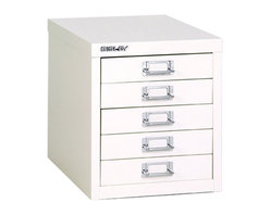 Empire Office Solutions - Bisley 5-Drawer Desktop Multi-Drawer Cabinet in White Steel - The aptly-named Bisley multi drawer desktop steel cabinet features five deep drawers to organize paper, forms, art supplies, crafts, scrapbooking tools and other items. The drawers pull out fully, offering easy access to drawer contents. The durable steel cabinet is sized to fit on a desk or countertop. Accented with attractive chrome pull handles and built-in label holders, this compact storage cabinet looks great at the office, workshop, garage or home. Enhance with Bisley multi drawer inserts to neatly store pens, paper clips, thumb tacks and other small items. This desk cabinet is finished in long lasting powder coated paint that won't chip or rust.