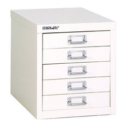 Empire Office Solutions - Bisley 5-Drawer Desktop Multi-Drawer Cabinet in White Steel - The ...