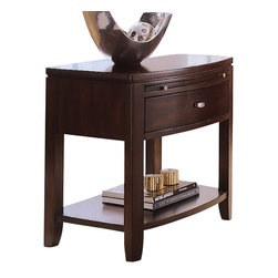 American Drew - American Drew Tribecca Leg Nightstand in Root Beer Color - The Tribecca mixes it up with modern, Art Deco, and Asian influences. Lighter scaled, with classic clean lines and pared down forms, Tribecca's inviting textures, rich wood tones and nickel finish hardware could be just the fresh look you've been trying to imagine for the new retirement condo on the shore or a trendy city loft.