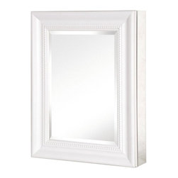 Pegasus - Pegasus Deco 20W x 26H in. White Framed Medicine Cabinet SP4598 - 511350 - Shop for Bathroom Cabinets from Hayneedle.com! The Pegasus Deco 20W x 26H in. White Framed Medicine Cabinet SP4598 won't make a big fuss about it but it might be the nicest part of your new bathroom. The rust-proof aluminum body features three adjustable glass shelves and self-closing hinges that allow the door to open wide to 110 for easy access. The beveled mirror sits inside an elegant frame in a subtle white finish. This cabinet is designed to give you the option of flush-mounting but you can also use the included hardware to hang it directly on your bathroom wall. About PegasusThink Pegasus when it comes to kitchen or bath needs. Pegasus is widely known for their signature faucets unique bath accessories and furniture vanities mirrors pedestal sinks toilets and kitchen sinks. Pegasus offers special collections featuring products that coordinate with an elegant yet sophisticated style. With designs spanning from tasteful and traditional to streamlined and contemporary Pegasus provides high-quality products and fixtures for a reasonable cost and promotes the philosophy of luxury without the extravagance.