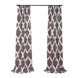 Exclusive Fabrics & Furnishings, LLC - Ikat Black Printed Cotton Curtain - Global influences – these cotton curtains come in a charming ikat print that has universal appeal. And being that they are fully lined, they can help you can shut out the world of bright lights and noise quickly and easily.