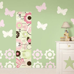 Home Decorators Collection - Butterfly Garden Growth Chart - Definitely more interesting than pencil markings next to a door, our butterfly and flower growth chart wall decal is a fun way to measure your child's height. Each wall decal is so easy to apply, just peel and stick! Create a colorful garden scene around the growth chart with the extra pieces, too. Includes 16 silhouettes (eight for one color, eight for another) and one growth chart. Safe for your walls. Easy to apply and remove. The feminine color scheme and pattern is great for a little girl's room. Includes butterfly and flower wall decals.