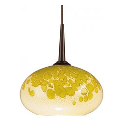 """Bruck Lighting - Laguna LED Pendant Light w Yellow and White Glass (Bronze 4 in. Canopy) - Finish: Bronze 4 in. Canopy. Pictured in Bronze. Glass Color: Yellow and White Glass. Mounting: No Canopy. Energy efficient . 12V AC/DC Input * 700mA DC constant current output. 6A, 5W for 1 (3 Watt LED) Included * 3000K / 68 Ipw. Suitable for dry location only. Compatible with selected Bruck electronic transformers and must meet the minimum VA. Overall Dimensions: 3.2"""" H x 5.3"""" DiaThe Laguna 3 Watt LED Pendant with wire mesh accents. Uni-plug design allows Sierra 3 Watt LED pendant to be mounted on any lighting system through the use of an appropriate adaptor, not included. Standard cable length of 59""""."""
