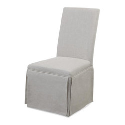 Bassett Mirror - 39 in. Skirted Parsons Chair - Set of 2 - Set of 2. Grey linen upholstery. 19 in. W x 24 in. D x 39 in. H