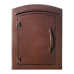 "Qualarc, Inc. - Manchester Mailbox, Plain Door, Antique Copper - This decorative cast aluminum mailbox insert can be matched with an optional newspaper holder or address plaque. The doors are sealed against the weather and its 22 gauge steel masonry box is electro-galvanized and powder coated to last. Faceplate Dimensions: 11"" x 14.5"". Masonry Can Dimensions: 16"" x 8.5"" x 12""."