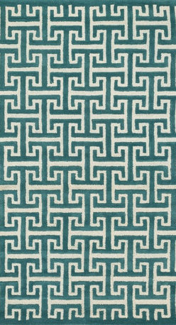 """Loloi Rugs - Loloi Rugs Brighton Collection - Teal, 7'-10"""" x 11'-0"""" - There are geometric rugs and then there is the striking Brighton Collection, which sets a new standard for geometric style. Hand-tufted in India, 100% wool yarns are hand-dipped into rich dye lots, producing lively colors that pair fabulously with its playful patterns. Brighton also combines a cut and loop pile, creating a mix of heights and textures for added visual interest. Available in 12 playful designs."""