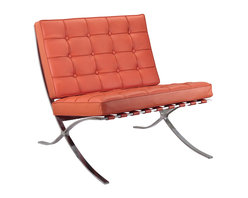 Meelano - M331 Barcelona Lounge Chair in Orange Leather - A pinnacle of modern design, this Mies van der Rohe-inspired lounge chair is a design classic. With its sleek stainless steel frame and Italian leather upholstery, the chair is a perfect centerpiece for your living room or office. Let the design speak for itself or try pairing it with a chic minimalist coffee table and accessories.
