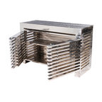 Kathy Kuo Home - Zazenne Modern Metal Slats Masculine Entertainment Console - Small - House your electronics in a showstopper of an entertainment console, with this geometric stunner. The slatted doors open to reveal shelves for all your prized equipment, and the entire piece will add refined style to your living room or home theater.
