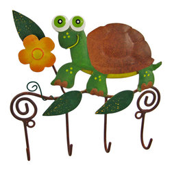 Wall Mounted Turtle Mug / Coat Rack Hanger Tortoise - This beautiful, hand painted 4 hook wall mounted hanger can be used for many different things. In the kitchen, it can be a mug rack for coffee mugs. In the hallway, it's a great place to hang your keys. In the bedroom, hand scarves and other accessories! The hanger measures 6 inches by 6 inches, and features a hand painted turtle and flowers. It makes a great housewarming gift.