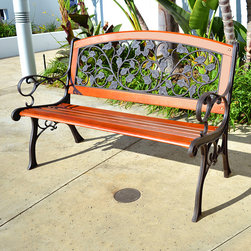 Innova Hearth & Home - English Ivy Royal Arch Bench - Embrace simple elegance in your yard with this handsome bench that offers a cast iron construction, sturdy hardwood slats and intricate detailing on the back for a comfortable and refined accent piece.   Weight capacity: 500 lbs. 49.75'' W x 34'' H x 27'' D Seat: 15'' H Iron / hardwood / steel Assembly required Imported