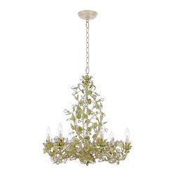 Crystorama - Crystorama 4846-CT Josie Chandelier - These color-driven pieces are very feminine in feel with an organic rhythm to them. The inspiration surrounding the Josie collection is the awareness of beauty in nature. The Josie collection celebrates the floral motif and brings out the pallet of fall colors.