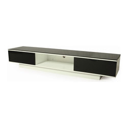 Pastel Furniture - Pastel Furniture Kitano 79x18 Rectangular Tv Stand in Black and White - The Kitano television stand is a modern and stylish design that will add an elegant flair to your living area. This television stand comes in glossy white wood with glass top.