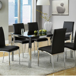 Hokku Designs - Dean 7 Piece Dining Set - Set the contemporary tone to your dining space with the smart mix of design elements, like a casual dining chair finish, chrome-plated steel base finish and clean silhouettes, creates a room ready for every occasion. Features: -Materials: Stainless steel-chrome, leatherette and glass.-Felt pads recommended.-Chrome plated steel leg.-Four sleek chrome modern posted legs partnered with clean rectangular black tempered glass top.-5'' Thick glass top.-Generously padded and perfectly proportioned seat and high back comfort.-Set includes one table and six chairs.-Upholstered in black leatherette.-Collection: Dean.-Distressed: No.Dimensions: -Table dimensions: 30'' H x 59'' W x 35.5'' D.-Chair dimensions: 37.25'' H x 17'' W x 23.5'' D.