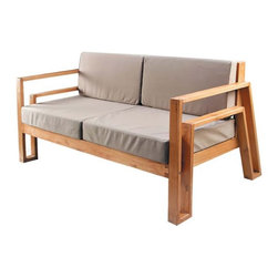 Fedele Contemporary Sofa by Maku Furnishings - The Fedele sofa infuses a chic and sophisticated look in any contemporary setting, perfect for indoor or outdoor use. This modern seat is small enough to fit in a patio or balcony, and when paired with the lounge chair and coffee table this lovely piece looks fabulously grand. 100% Sustainable Plantation grown or Reclaimed Teak. This sofa is available with or without cushion.