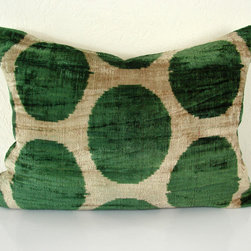 polka dot velvet ikat pillows -