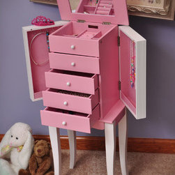 """Mele - Louisa Girl's Jewelry Armoire in Pink and White - Features: -Jewelry armoire. -Combination of pink and white finish. -Wooden construction. -Top compartment has ring rolls flanked by four open sections. -Dual necklace doors have catch panels and house five hooks each. -Both door fronts feature vertical bead detailing. -Four open drawers with white wooden pulls. -Pink sueded fabric lining. -Suitable for children above 8 years, since it features small parts which can cause choke hazard. -Lid is scalloped and has a mirror. -Scalloped apron front and squared cabriole style legs. -Dimension: 29"""" H x 12"""" W x 8.38"""" D."""