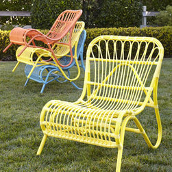 Horchow - Scoop Side Chair - Colorful and trendy, this lightweight, stackable chair is great for small patios or balconies, picnics, camping—outdoor events of all kinds. It features a low profile for comfortable seating. Powder-coated aluminum frame with resin-weave seat. Se...