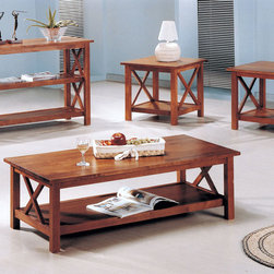 Coaster - 5907 4 Pcs Table Set - This simple and stylish 4 piece occasional group has a fresh look and a spacious lower shelf. Finished in medium brown.