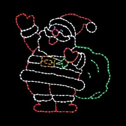 66 in. LED Jolly Santa Lighted Display - 410 Bulbs - With the 66 in. LED Jolly Santa Lighted Display - 410 Bulbs in your yard, St. Nick will bid friends, family, and neighbors a Merry Christmas. This friendly, lighted display features a cheerful Santa Claus with his bag full of toys. Your Santa stands 66 inches tall, making him an impressive display. His shape is held sturdy a strong powder-coated steel frame. Santa comes pre-lit with 410 commercial-quality, multi-colored LED bulbs. This Christmas yard display is a breeze to install and includes replacement bulbs and clips. About Brite IdeasEstablished in Omaha, Neb., in 1990, Brite Ideas Decorating, Inc., has become a holiday lighting industry leader, providing customers across the United States with durable, cutting edge lighting displays for both residential and commercial applications.Featuring a full line of innovative LED products and uniquely designed displays, Brite Ideas appeals to tradition, modern, simple, and even ornate tastes. It is their mission to promote excellence in the holiday lighting industry. With that in mind, Brite Ideas products go above and beyond the standard to create the best holiday atmosphere for you.