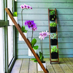 Kiikku White Planter - Well, I could never have this planter, because my cat would climb it and eat and destroy the orchids, but if you don't have a crazy cat, I'm jealous. The ladder adds a new dimension to a room or patio and makes a beautiful display.