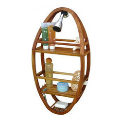Rustic Teak Shower Caddy - Besides being visually appealing, this naturally waterproof teak shower caddy has everything you could ever need. With spots for standing bottles of many sizes, a designated soap holder, and two razor ports, this will be the last shower caddy you'll ever need to purchase.