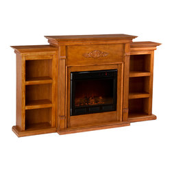 Holly & Martin - Fredericksburg Electric Fireplace with Bookcases, Glazed Pine - If you are looking for an elegant accessory for your home, this electric fireplace is perfect for you. This beautiful and functional electric fireplace features a glazed pine finish that looks great in any room. A classic floral design is carved across the top of this fireplace, above the firebox. Three bookcase shelves on either side of the firebox provide space and storage for all of your favorite readings, media and home decor accessories.