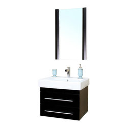 Bellaterra - 24.25 In Single Wall Mount Style Sink Vanity - Wood - Black - There is always great design in simplicity. Perfect for a small space, this set of modern wall mount style bathroom vanity features oversized ceramic sinks. Vanity dimension:  24.25Wx18.9Dx20H * ** * Birch* Black* White Ceramic * White Ceramic Sink*Chrome finish hardware* Pre-drilled with 1 hole - One slot faucet, faucet and mirror not included* No Assembly Required. Dimensions: 24.25 in. x 18.9 in.