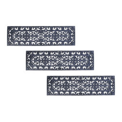 Entryways - Fleur De Lys Stair Tread Recycled Rubber Doormat (Set of 3 mats) - Inspired by an antique ornamental iron gate, this intricate design will add classic grace to any staircase. Intricate and beautiful, it is also durable and easy to clean. To clean, simply hose down.