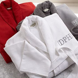 Organic Cotton Spa Robe, Large, Gray - Wrap up in the comfort and purity of pure organic cotton. Our spa robe brings the luxury of a world-class spa into the comfort of your own home. 300-gram weight. Waffle texture is pique woven of 100% organic cotton. Lined with double-twisted terry loops. Features a full shawl collar, turned-back cuffs, 2 patch pockets and a loop for hanging robe. Double-sided loops hold self-tying sash. Monogramming is available at an additional charge. Monogram will be placed on the upper left-side of the robe. Machine washable. Unisex sizes S, M, L or XL. Made in Turkey.