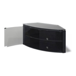 """Techlink - Bench 43"""" TV Stand - Features: -Colour: Piano black/Smoked glass.-Smoked glass bow-front doors, transparent to remote control signals.-Handle-less design with magnetic door latches.-Glass shelves.-Cable management.-Suitable for displays 37''-42''.-Construction: Wood and safety glass.-Bench collection.-Distressed: No.-Collection: Bench.Dimensions: -Overall Product Weight: 82 lbs."""