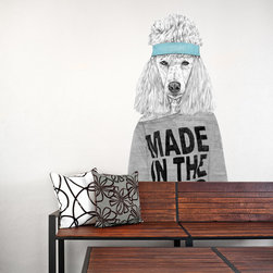 My Wonderful Walls - Standard Poodle Dog Wall Sticker Cut Out - 80s Girl by Balázs Solti, Large - - Product: 80s inspired Standard Poodle dog wall decal