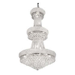 "The Gallery - FRENCH EMPIRE CRYSTAL CHANDELIER CHANDELIERS H50"" x W30"" - 100% CRYSTAL CHANDELIER, this Empire chandelier is characteristic of the grand chandeliers which decorated the finest Chateaux and Palaces across Europe and reflects a time of class and elegance which is sure to lend a special atmosphere in every home!Assembly Required."