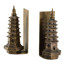 Global Views - Pagoda Bookends - Pagoda Bookends