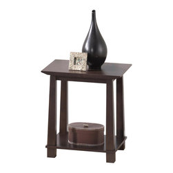 Wholesale Interiors - Havana Brown Wood Modern End Table - Simultaneously having a classic and contemporary feel, the Havana End Table is a versatile design with just the right touch for a sophisticated, casual living space. This is a practical yet elegant dual-shelf end table for display of decor, lighting, and more. The contemporary side table is built with dark brown wenge veneered MDF and particle board with eco-friendly rubber wood. To clean, wipe with a dry cloth. Made in Malaysia, assembly is required. A matching Havana TV cabinet, bookshelves, and coffee table are also offered (each sold separately).