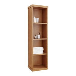 Virtu USA - Hewitt Bathroom Side Cabinet in Chestnut - The Hewitt is the modern day open book. This straight forward side cabinet offers convenient storage and easy access with open shelving and contemporary wall-mounting. A hassle-free storage system that will combine perfectly with your bathroom's decor.