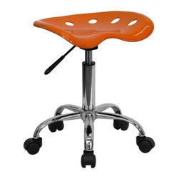 "FlashFurniture - ""FlashFurniture Vibrant Tractor Seat & Chrome Stool, Orange"" - ""On the market for a stool but want to add a little color to your home or office? This sleek, modern stool conforms to several areas in the home or office. The molded tractor seat offers great comfort. The small frame design of this backless stool makes it easy to maneuver around tight spaces with ease. This stool can be used for a variety of reasons other than just at a desk and is offered at a very affordable price. [LF-214A-ORANGEYELLOW-GG].Dimensions (W x L x H): 15"""" x 17"""" x 25.75""""Weight: 12 lbs.Tractor stool, 17-inch width by 15-inch depth by 20-1/4 25-3/4-inch heightOrange molded -inchtractor-inch seatHigh density polymer construction5-1/2-inch Height Range AdjustmentPneumatic seat height adjustment"""