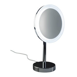 WS Bath Collections - Smile 306 Magnifying Illuminated Mirror - Smile 306 Magnifying Makeup Mirror illuminated in Chrome, with LED Light