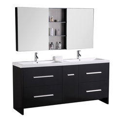 Design Element - Double Sink Bathroom Vanity - Design Element Dec079B Perfecta 72' Double Sink Bathroom Vanity
