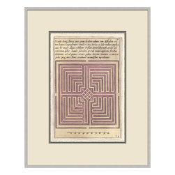 Soicher-Marin - Garden Plan B, Pink - Giclee print with a silver  contemporary wood frame with off white mat insert.  Includes glass, eyes and wire.  Made in the USA. Wipe down with damp cloth
