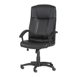 Chintaly Imports - Black High Back Multi Adjustable Pneumatic Gas Lift Office Chair - Pneumatic gas lift adjustable height swivel high-back computer chair. Seat back and arms are upholstered in Black PU. Tailored and contoured seat and back. 5 star caster base allow the chair to move with ease. Chair also has locking mechanism to allow or prevent rocking.