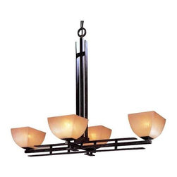 Minka Lighting - Four-Light Chandelier - 1274-357 - This four-light chandelier features scavo glass, which emits a warm glow against the iron oxide finish. Four lights provide ample illumination for most rooms. This piece has a rectangular shape that makes it perfect to hang over a dining room table. Takes (4) 100-watt incandescent A19 bulb(s). Bulb(s) sold separately. Dry location rated.