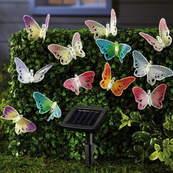 Solar Fiber Optic Butterfly String Lights - Here are some really unusual solar lights; they're pretty butterflies! They would be cute all around the patio.