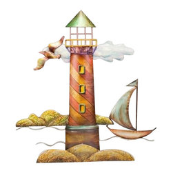 """Metal Lighthouse Sculpture - The metal lighthouse sculpture measures 20"""" x 22"""". This item features a beautiful metal lighthouse with a sailboat  sea bird. It will add a definite nautical touch to wherever it is placed and is a must have for those who appreciate high quality nautical decor. It makes a great gift, impressive decoration and will be admired by all those who love the sea."""